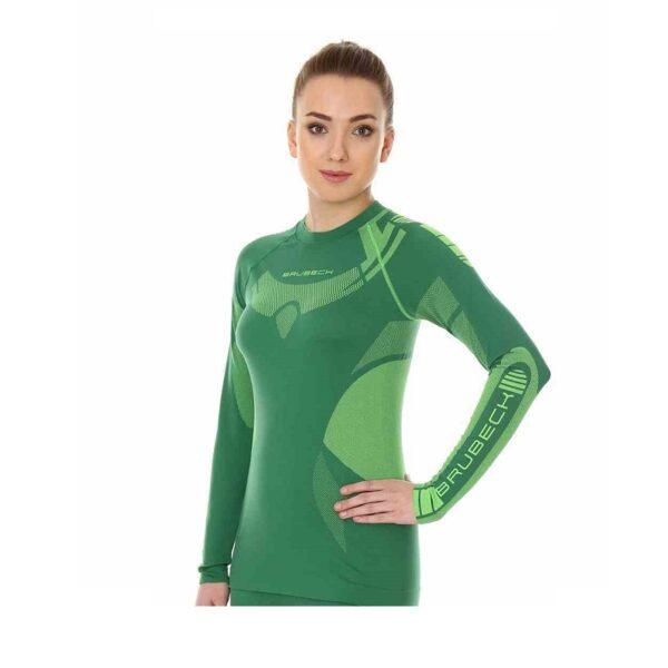 koszulka-termoaktywna-brubeck-dry-damska-z-długim-rękawem-zielona-limonka-odzież-motocyklowa-warszawa-monsterbike-pl