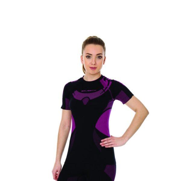koszulka-termoaktywna-brubeck-dry-damska-z-krótkim-rękawem-czarna-amarantowa-odzież-motocyklowa-warszawa-monsterbike-pl