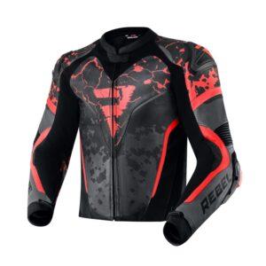 kurtka-motocyklowa-skórzana-rebelhorn-rebel-cosmic-czarna-ciemnoszara-fluo-czerwona-odzież-motocyklowa-warszawa-monsterbike-pl