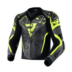 kurtka-motocyklowa-skórzana-rebelhorn-rebel-cosmic-czarna-ciemnoszara-fluo-żółta-odzież-motocyklowa-warszawa-monsterbike-pl